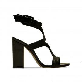 Sandales Vicky cuir noir et vernis